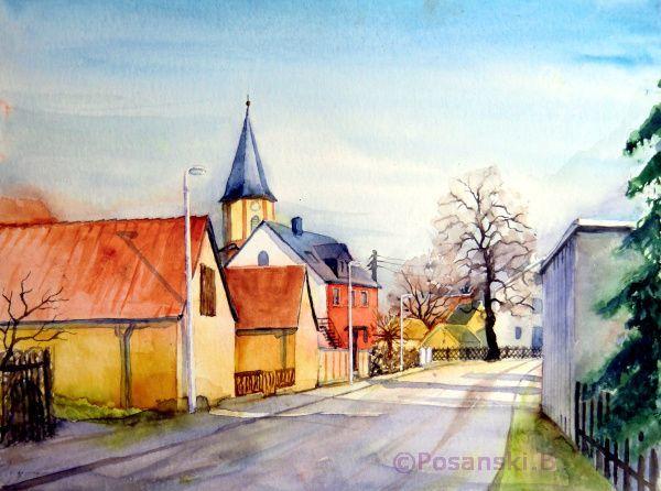 Landschaft, Aquarellmalerei, Kleinpösna, Dorf, Kirche dorfstraße, Dorfkirche