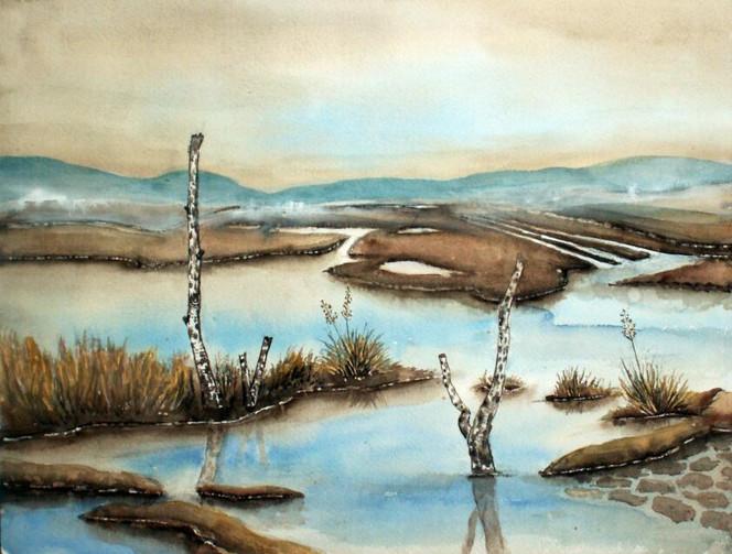 Aquarellmalerei, Landschaft, Moor, Aquarell, Aquarelle landschaften