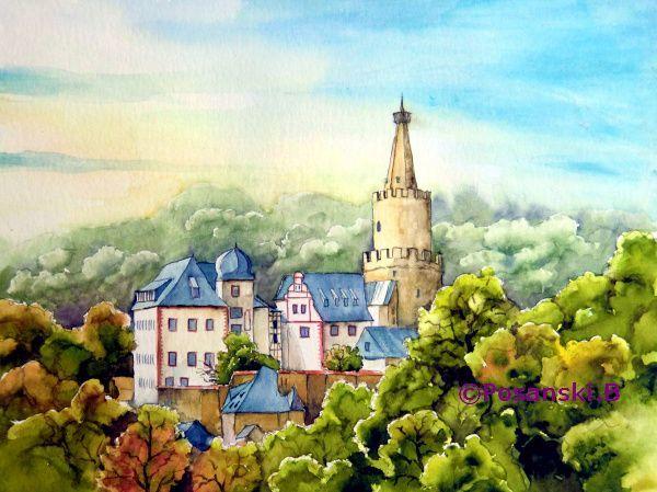 Burg, Aquarellmalerei, Weida, Thüringen, Osterburg, Landschaft