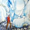 Gletscher, Briksdalbreen, Aquarell