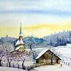 Winter, Schnee, Aquarell, Dorf