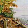Herbst, Ostsee, Strand, Aquarell