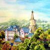 Burg, Aquarellmalerei, Weida, Thüringen
