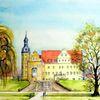 Schloss, Frühling, Schloss thalwitz, Aquarellmalerei