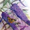 Blumen, Flieder, Sommerflieder, Aquarell