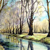 Aquarellmalerei, Spreewald, Frühling, Landschaft