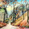 Wanderweg im Böhmischen Paradies - wanderweg, Aquarell, Landschaft, Herbst, , böhmischen, paradies