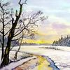 Winter, Landschaft, Aquarell, Winterlandschaft