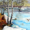 Tauwetter, Winter, Moor, Aquarell