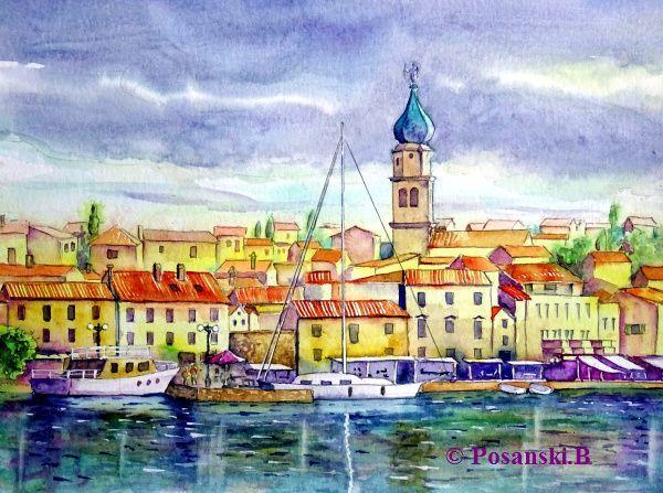 Stadt, Stadtansicht, Insel, Kroatien, Aquarell