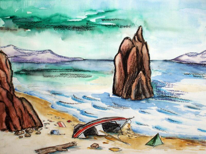 Strand, Strandgut, Küste, Aquarellmalerei, Aquarell,