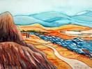 Landschaft, Berge, Aquarellmalerei, Aquarell