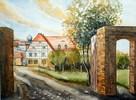 Steinsdorf, Aquarellmalerei, Gutshof, Aquarell