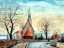 Kirche, Aquarellmalerei, Salzwedel, Aquarell
