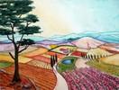 Aquarellmalerei, Landschaft, Toskana, Aquarell