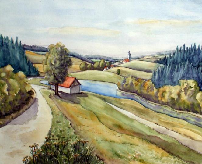 Landschaft, Holzland, Sommerlandschaft, Thüringen, Bremsnitz, Aquarellmalerei