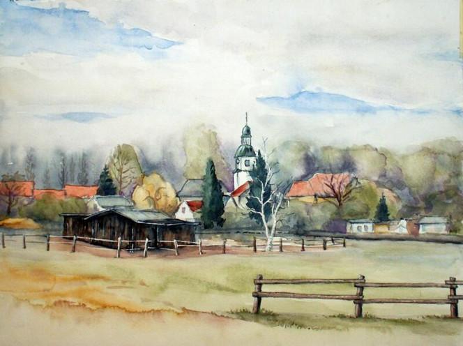 Zweenfurth, Aquarellmalerei, Landschaft, Ort, Aquarell, Aquarelle landschaften