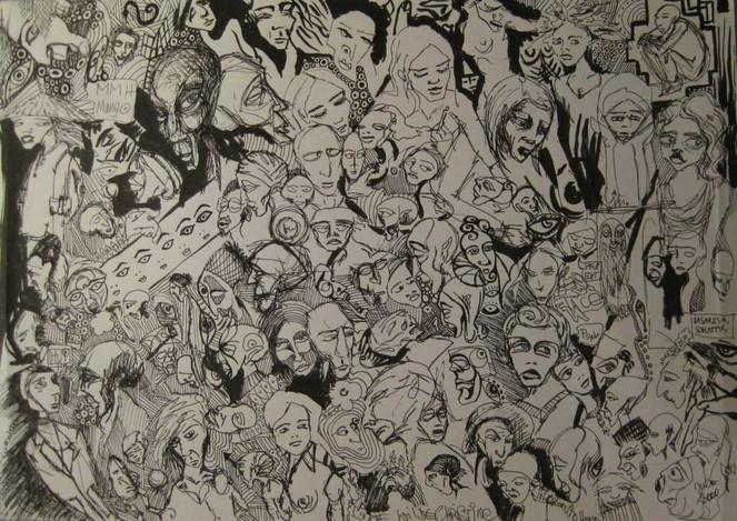 Finelinerbilder, Schwarzweiß, Zeichnungen