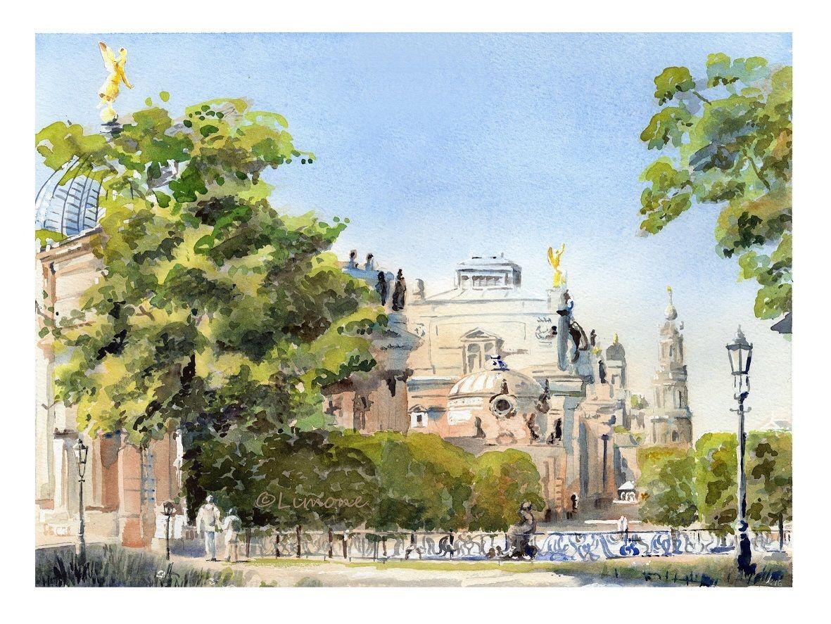 Bild dresden br hlsche terrasse architektur aquarell for Architektur aquarell