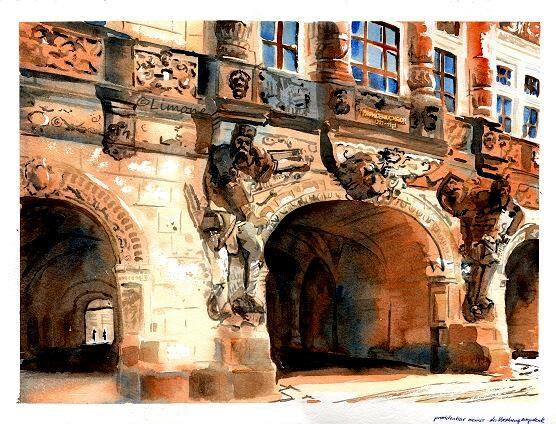 Dresden, Schloss, Georgentor, Aquarell, Architektur