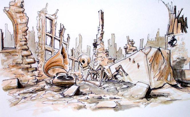 Zeichnung, Musik, Skizze, Tod, Skelett, Krieg