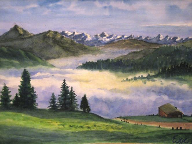 Aquarellmalerei, Landschaft, Malerei