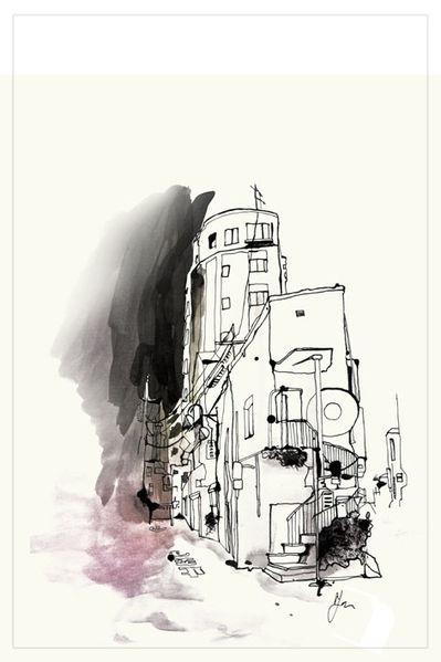 Japan, Harajuku, Tusche, Haus, Zeichnungen