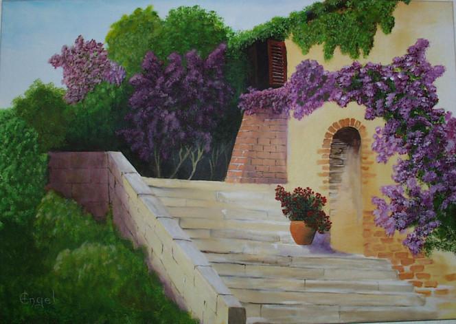 Provence, Urlaub, Toskana, Acrylmalerei, Blüte, Treppe