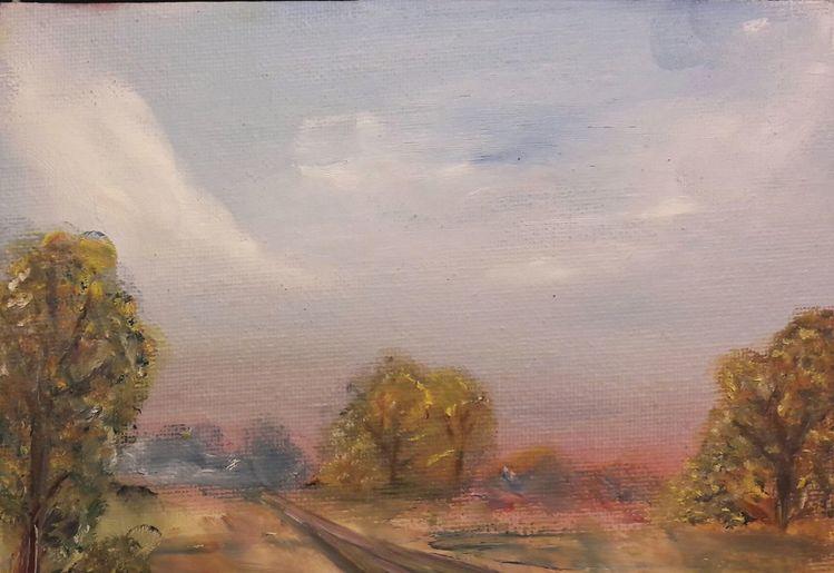 Landschaft, Finger, Ölmalerei, Malerei