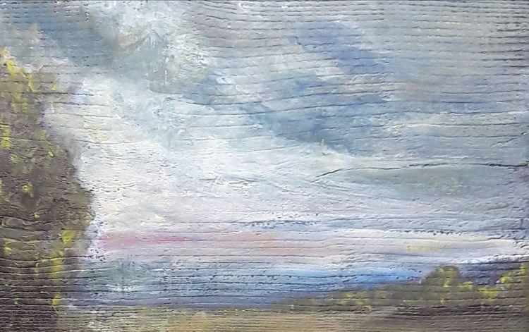 Wolken, Granseer platte, Holz bohlen, Abend, Malerei