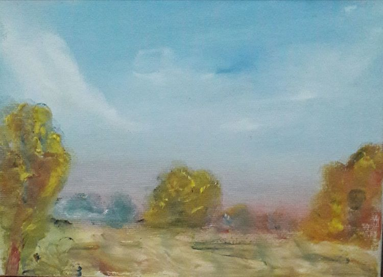 Finger, Blau, Gelb, Landschaft, Fingertasch, Ölmalerei