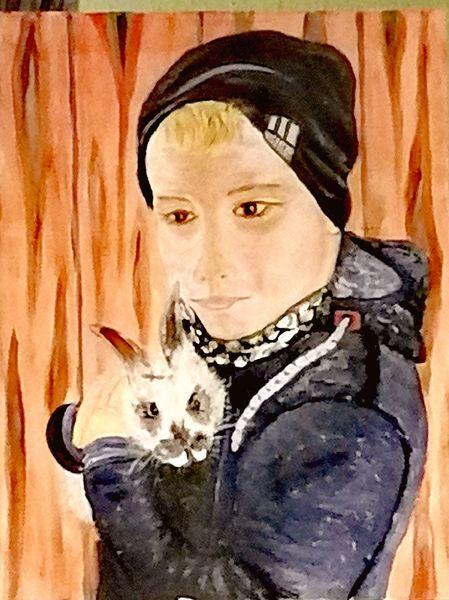 Junge, Hase, Portrait, Kind, Malerei, Nähe
