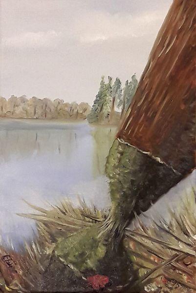 See, Baum, Wasser, Bieber, Malerei,