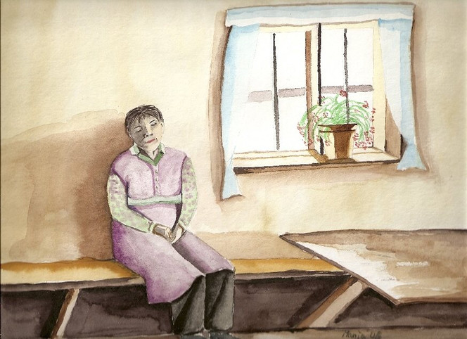 Hütte, Arbeiten, Frau, Aquarellmalerei, Tagschlaf, Malerei