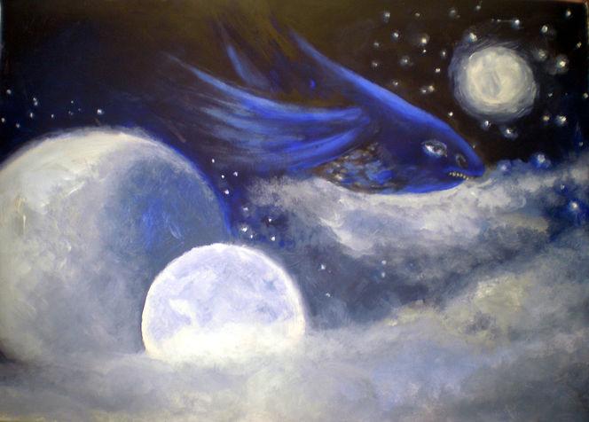 Fisch, Traum, Mond, Himmel, Malerei, Tiere