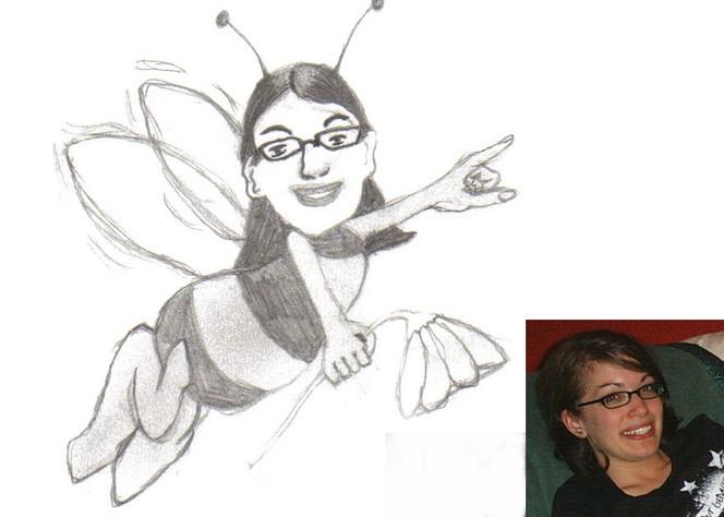 Bleistiftzeichnung, Comic, Zeichnungen, Biene