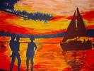 Zeichnung, Landschaft, Zeichnungen, Sonnenuntergang