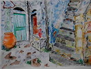 Aquarellmalerei, Landschaft, Malerei, Griechenland