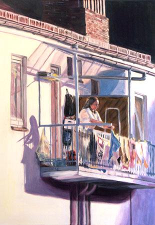 Frau, Balkon, Acrylmalerei, Sommer, Sonne, Wäsche