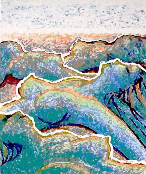 Sonnig, Versteinerung, Gemälde, Digital, Strand, Blau