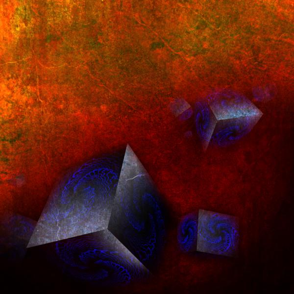 Dunkel, Vektor, Abstrakt, Artefakt, Hexaeder, Verwirrung