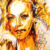 Portrait of Debi - drawing, expression, drawing, figurative, face, feel, female, head, impression, inspiration, look, painting, portrait, pose, orange, sense, woman