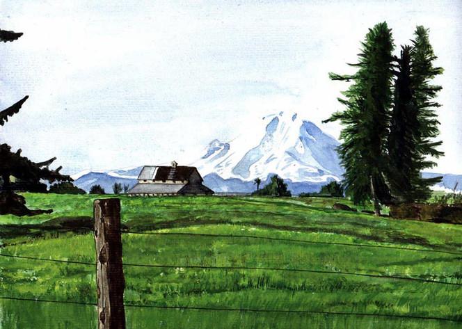 Landschaft, Aquarellmalerei, Berge, Baum, Aquarell