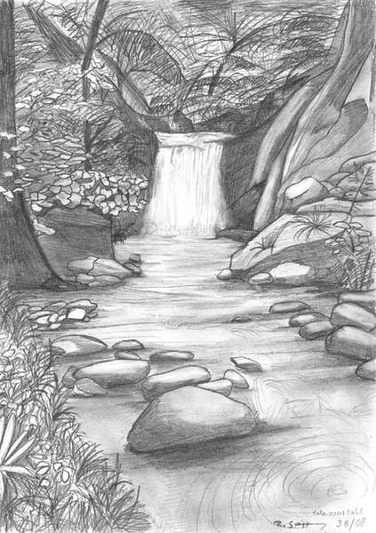 Wasserfall, Landschaft, Pflanzen, Wald, Baum, Wasser