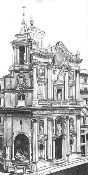 Architektur, Bleistiftzeichnung, Kirche, Italien, Gebäude, Zeichnungen