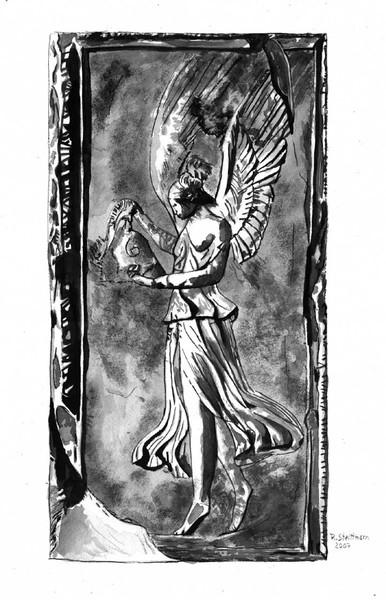 Engel, Grafik, Weiblich, Frau, Statue, Aquarellmalerei