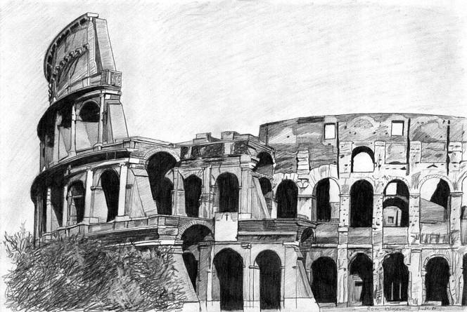 Bleistiftzeichnung, Bau, Gebäude, Architektur, Italien, Rom