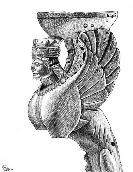 Statue, Frau, Skizze, Statur, Schale, Stein
