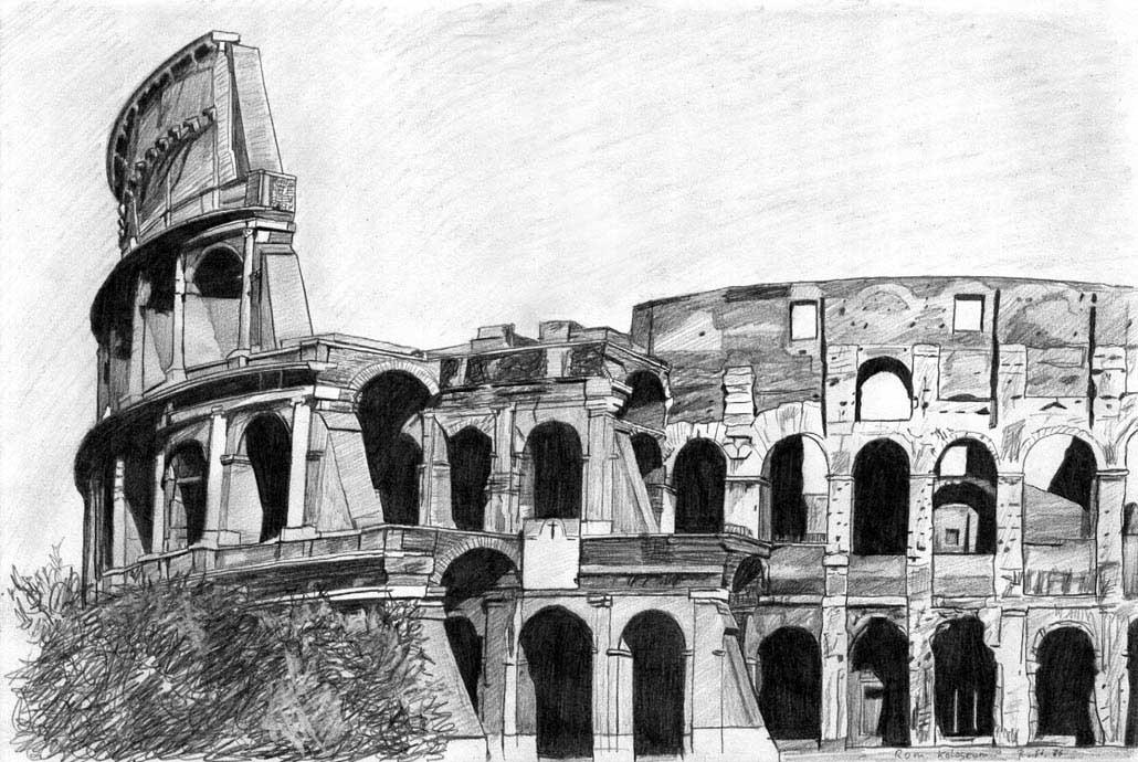 Das kolosseum bau bleistiftzeichnung architektur for Innenarchitektur zeichnen