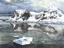 Eis, Aquarellmalerei, Wasser, Berge